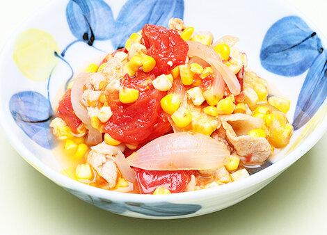 スイートコーンと豚肉のトマト煮