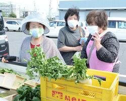 軽ットラ市がオープン 軽トラックに新鮮野菜ずらり