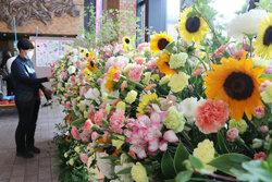 合同庁舎に花きを展示 身近に花を飾って