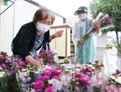 「勇気野菜館」で「お盆セール」を開催 丹精込めて育てた盆花が好評